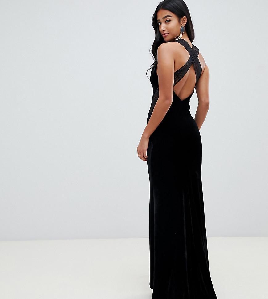 dc68f104f32e Vestido largo de terciopelo con espalda cruzada y aplicación de encaje en  negro de mujer
