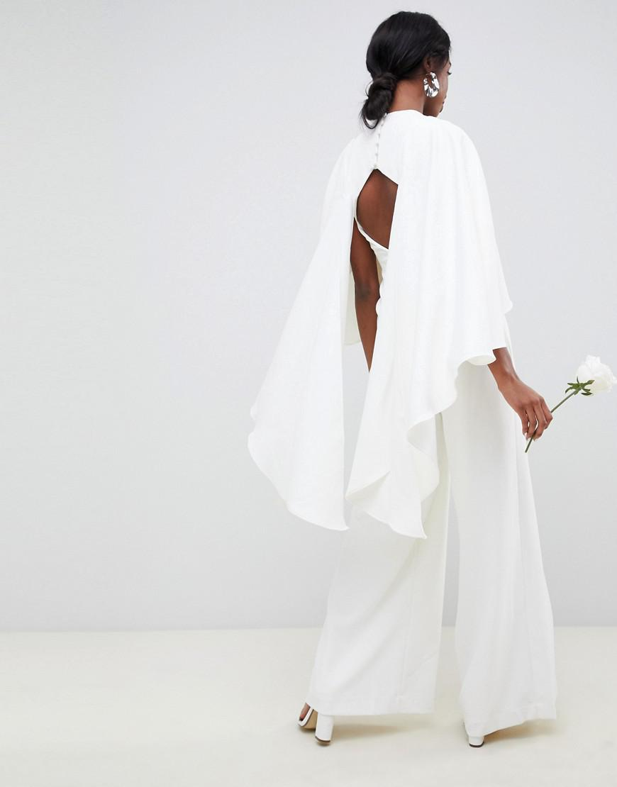 2169fb44b0a Lyst - ASOS Asos Edition Tall Cape Wedding Jumpsuit in White