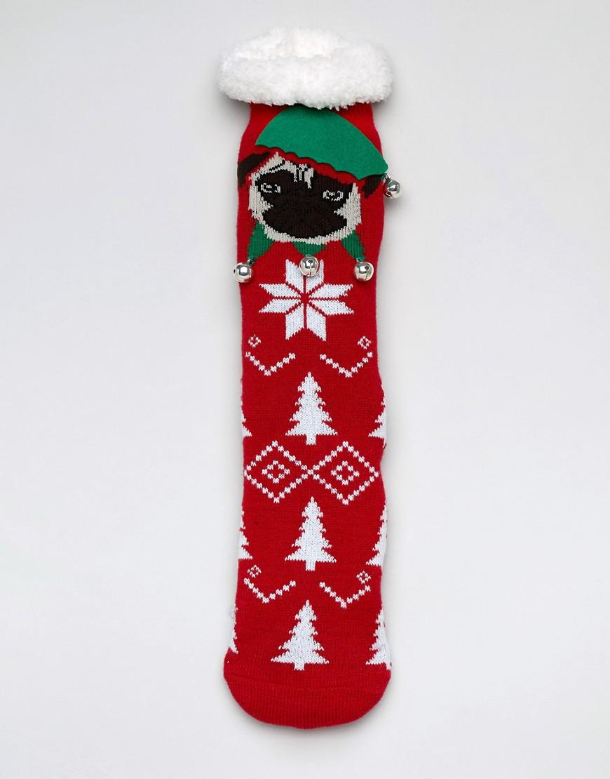 Lyst - ASOS Christmas Slipper Socks With Pug Face Toes   Fluffy Lining in  Red for Men 422b482bd39