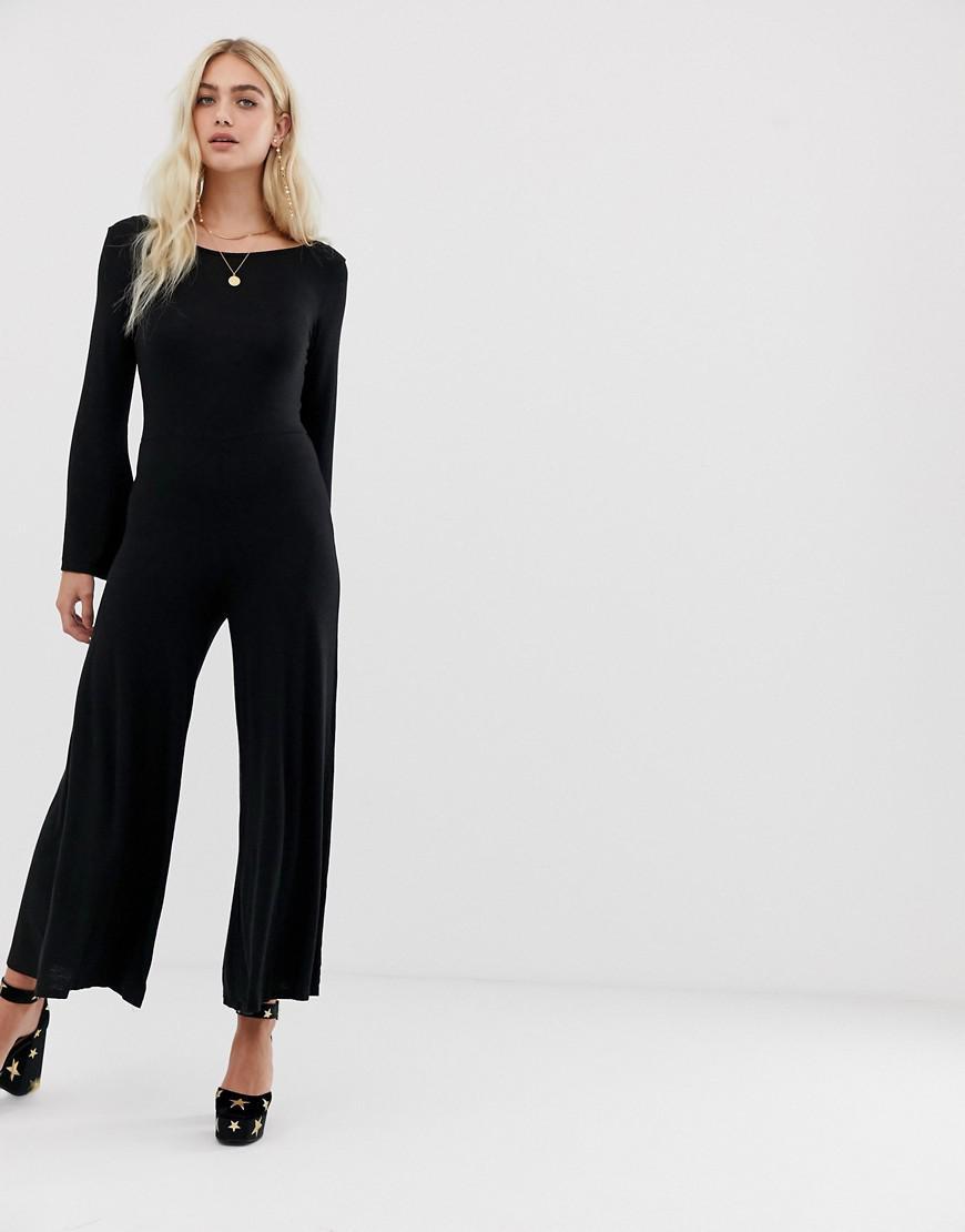616dcfa122f2 Lyst - NYTT Emily Scoop Back Wide Leg Jumpsuit in Black