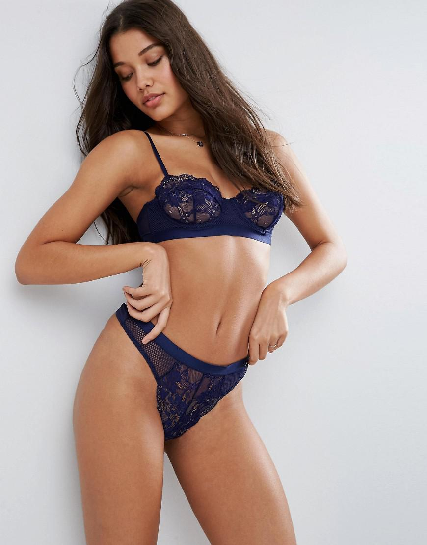 612ae78d8 ASOS Cacey Fishnet   Lace Underwire Bra in Blue - Lyst