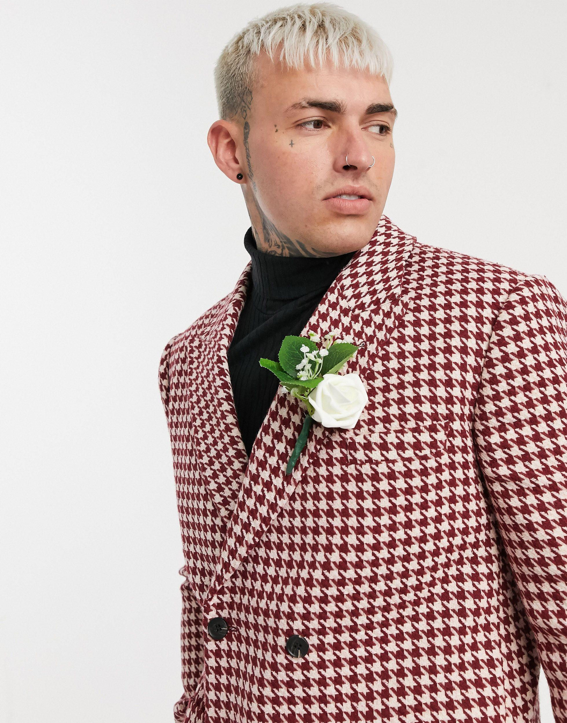 ASOS Wol Wedding - Smalle Double-breasted Colbert Van Wolmix Met Groot Pied-de-poule Motief in het Rood voor heren