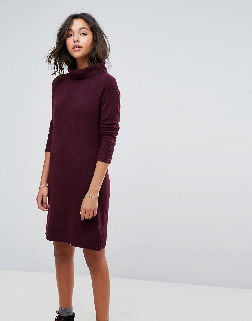 Esprit Leather Roll Neck Knitted Midi Dress In Red Lyst