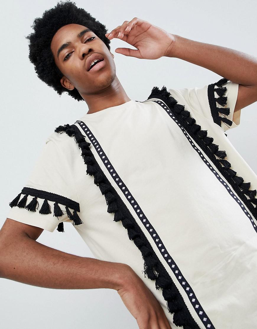 DESIGN festival relaxed longline t-shirt with aztec taping and tassels in ecru - Ecru Asos Discount Nicekicks G15KTNio