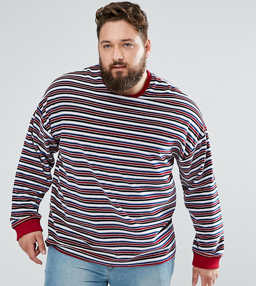 PLUS Longline T-Shirt In Towelling With Retro Stripe - Multi Asos Finishline For Sale Pre Order Fast Express Z2Y9sl1