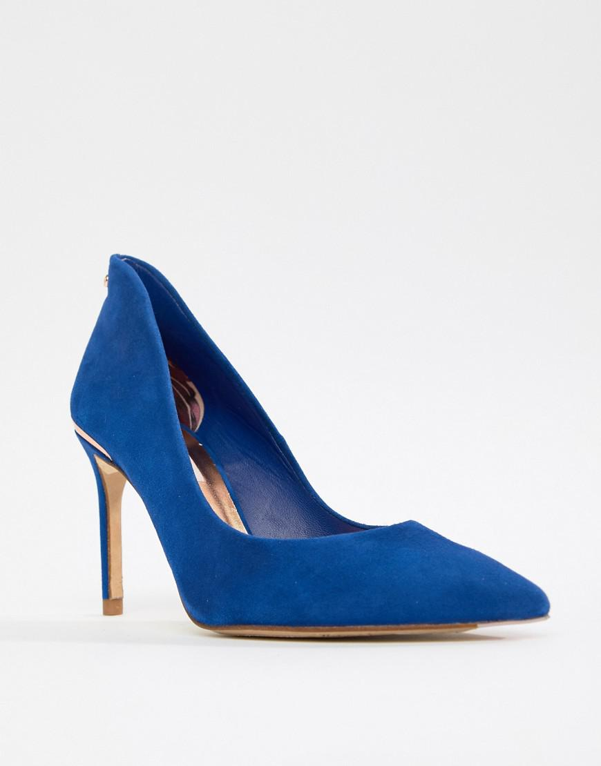 e3f48bfb6 Lyst - Ted Baker Suede Pointed High Heels in Blue - Save 45%