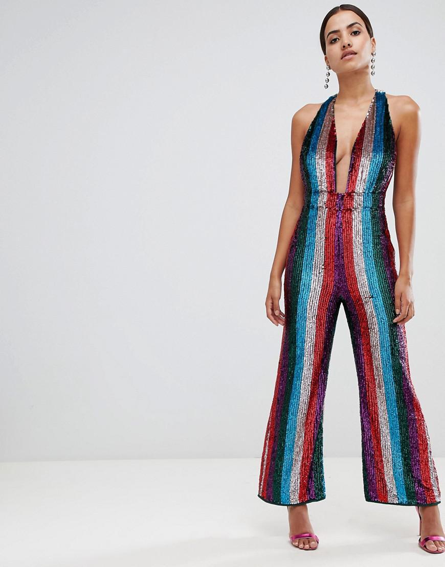 4d0d3715102 Asos Plunge Embellished Jumpsuit In Multi Stripe in Blue - Lyst