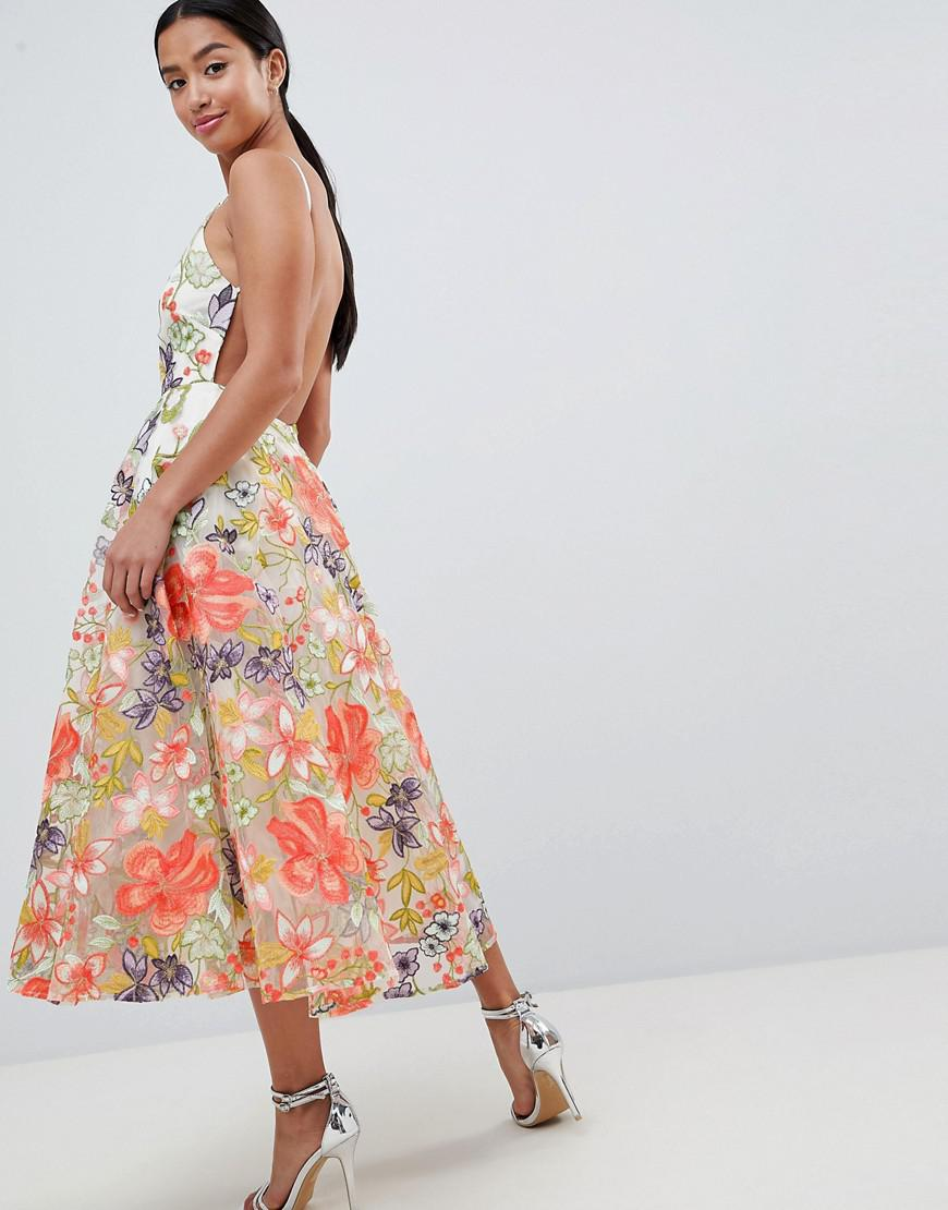 06e2b43976c5 Asos Edition Floral Embroidered Halter Prom Midi Dress