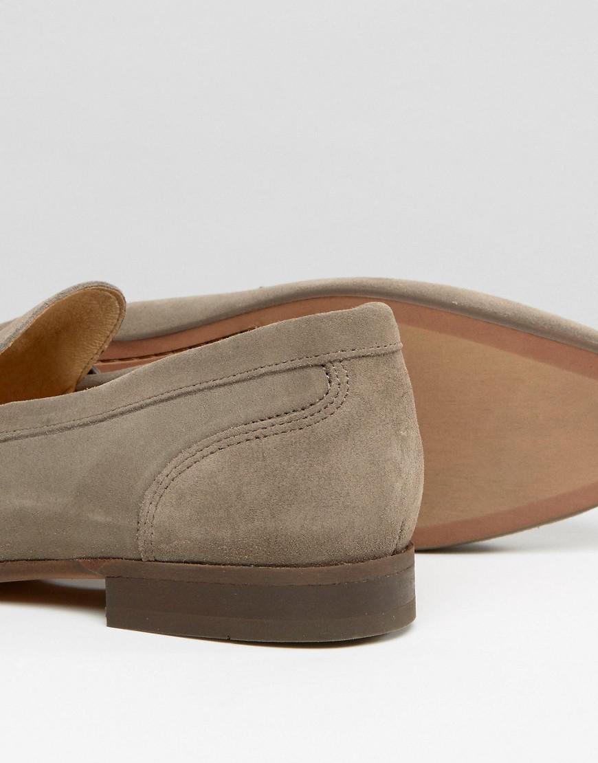 H by Hudson Navarre Suede Loafer Shoes in Tan (Brown) for Men