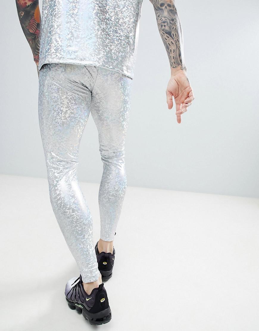 ASOS Design Festival Meggings In Silver Co-ord in Metallic for Men