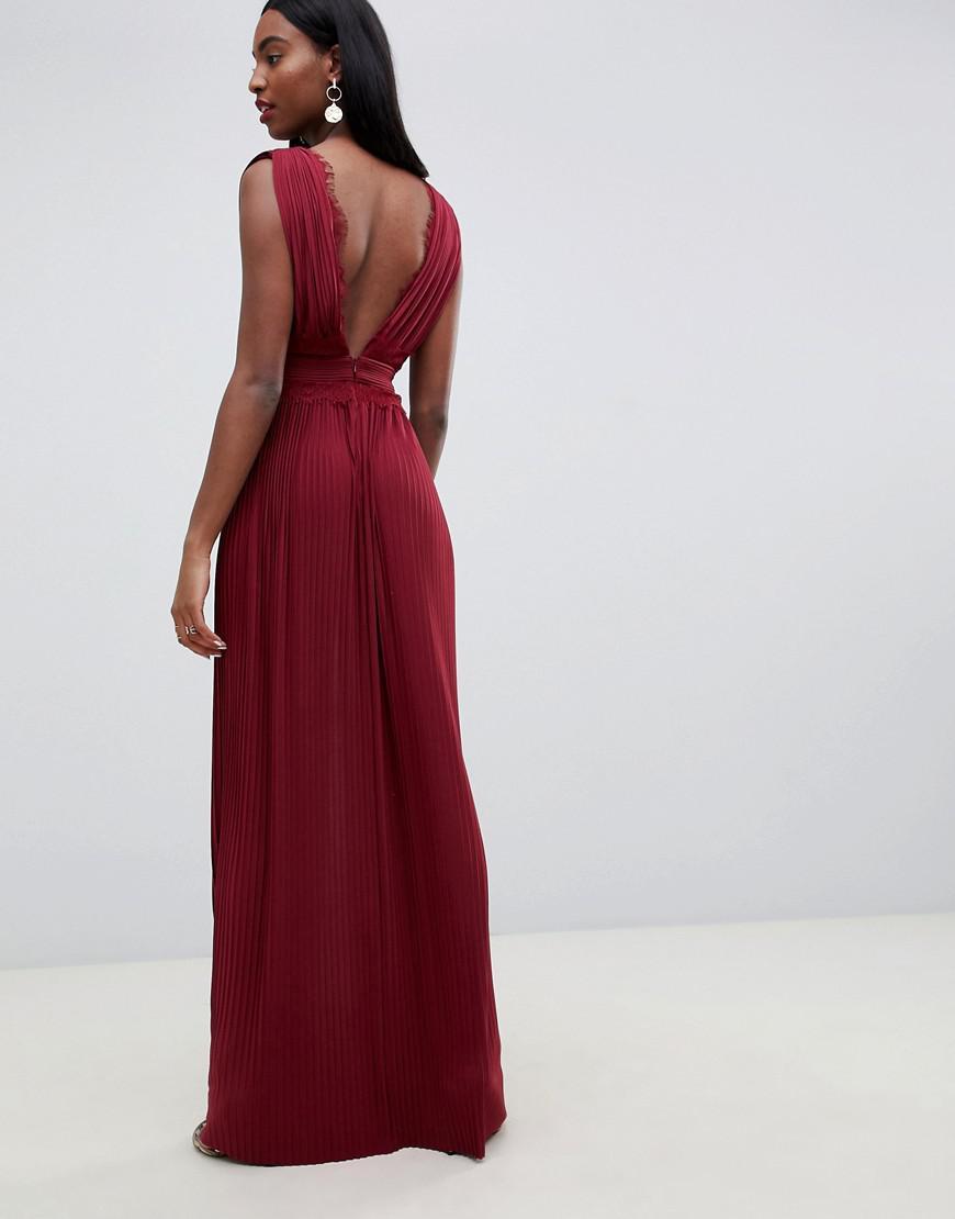 5172cad7ce Lyst - ASOS Asos Design Tall Premium Pleat Maxi Dress in Red