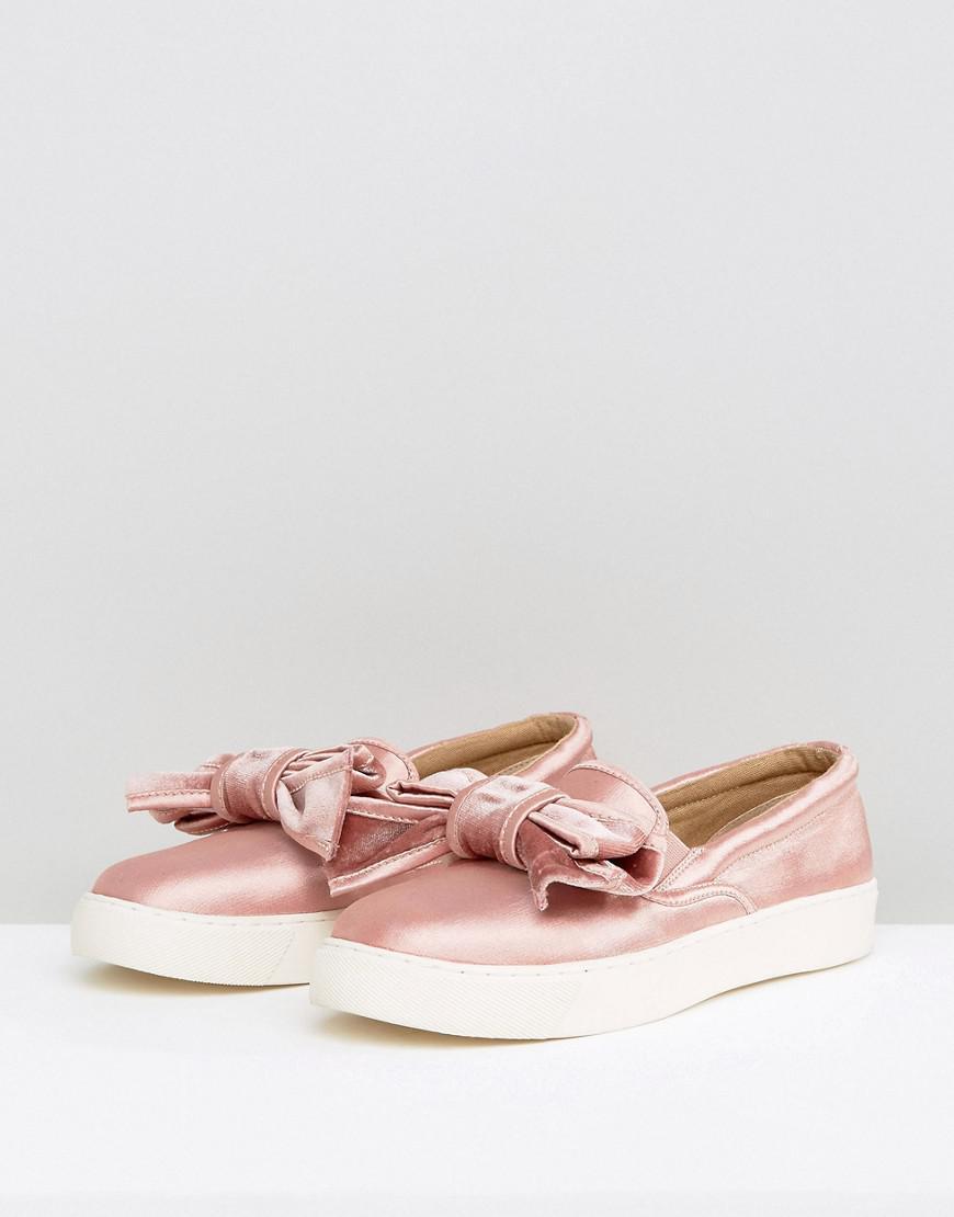 ASOS Satin Dandy Bow Sneakers in Pink