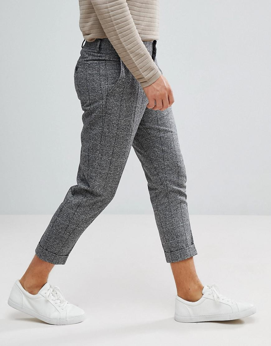 1a0831f7238 Lyst - SELECTED Smart Cropped Pants In Gray Check in Gray for Men