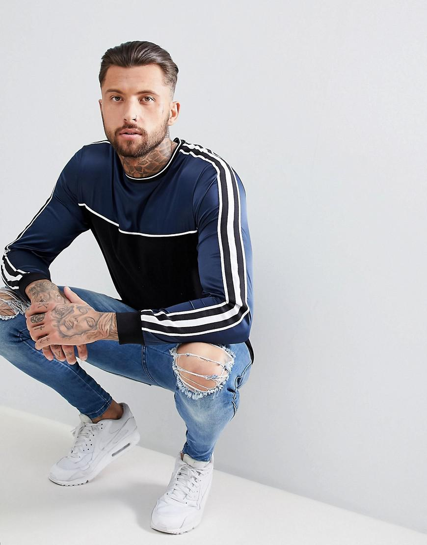 DESIGN relaxed longline long sleeve t-shirt with contrast yoke and sleeve taping - Black Asos Professional Sale Online Buy Cheap Pay With Paypal Sale 2018 Unisex vKIqDYg2EK