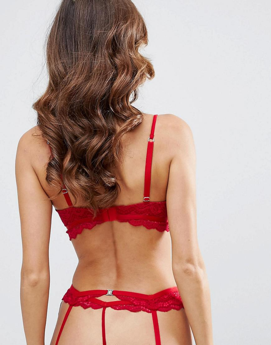 e188a99c6 ASOS Malin Lace Strappy Suspender in Red - Lyst