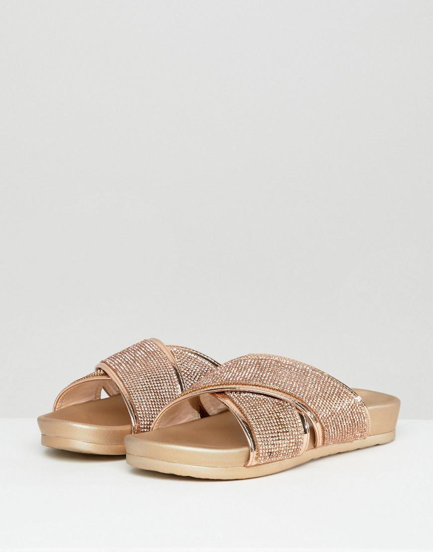 c1d91127340b Public Desire Envy Rose Gold Glitter Cross Front Sandals in Metallic - Lyst
