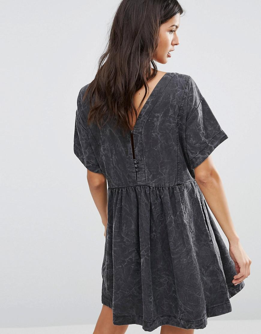 Pepe Jeans Denim Lorette Marble Smock Dress in Grey (Grey)