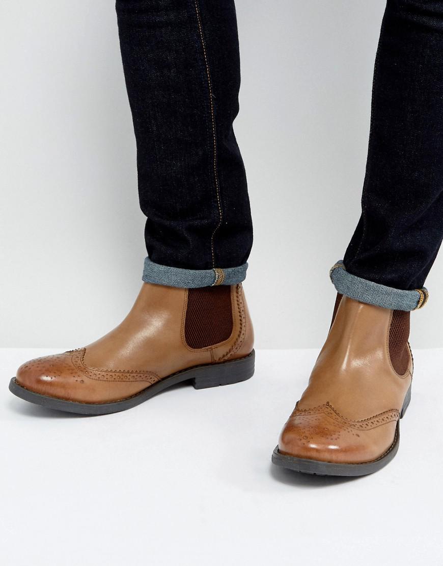 c5c42f1e Men's Black Brogue Chelsea Boots Tan Leather