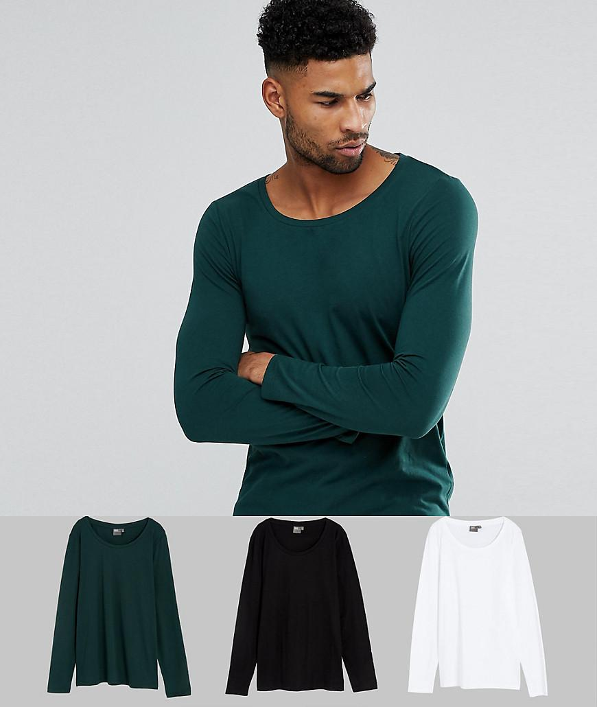 ASOS. Men's Green Tall Long Sleeve T-shirt With Scoop Neck 3 Pack Save