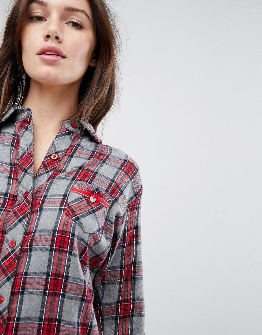 Sale Low Price Fee Shipping Free Shipping Great Deals Check Night Shirt - Red Esprit Official Site Online Outlet 2018 Discount Pictures 63jzR4V