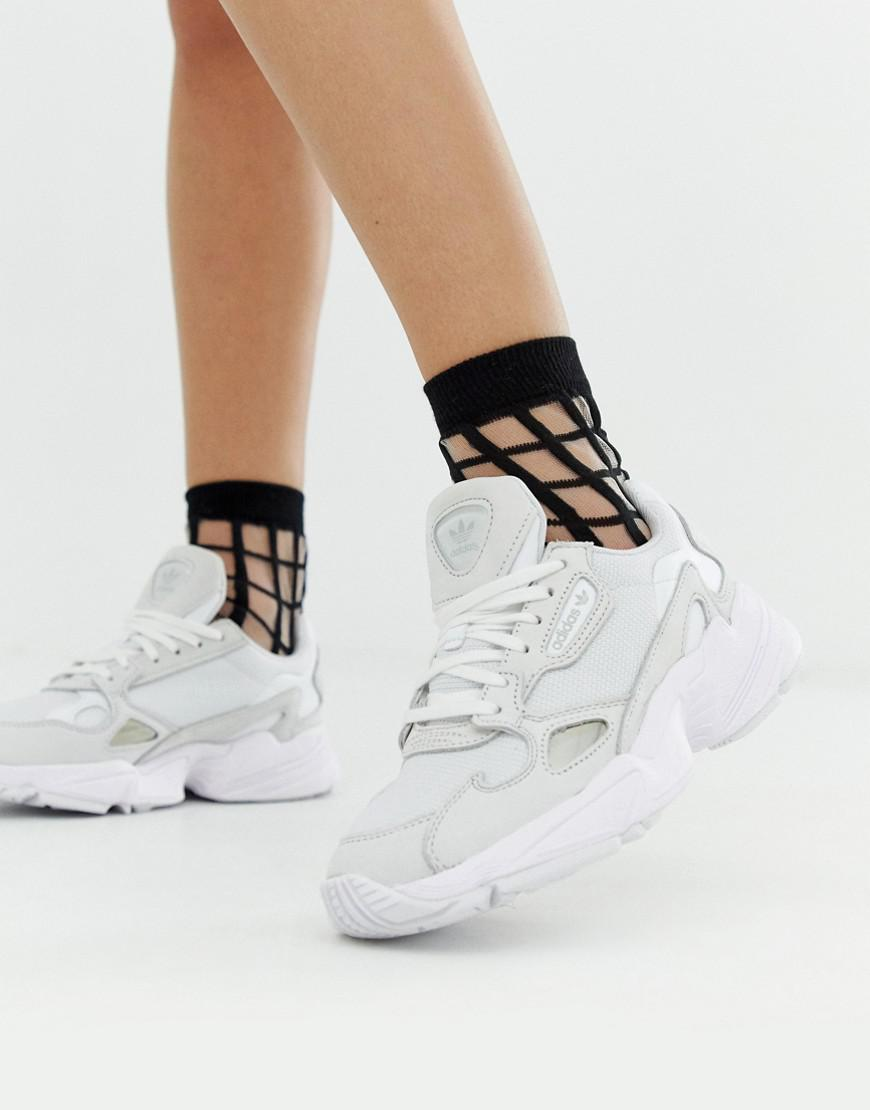 adidas Originals Leather Triple White Falcon Trainers - Lyst