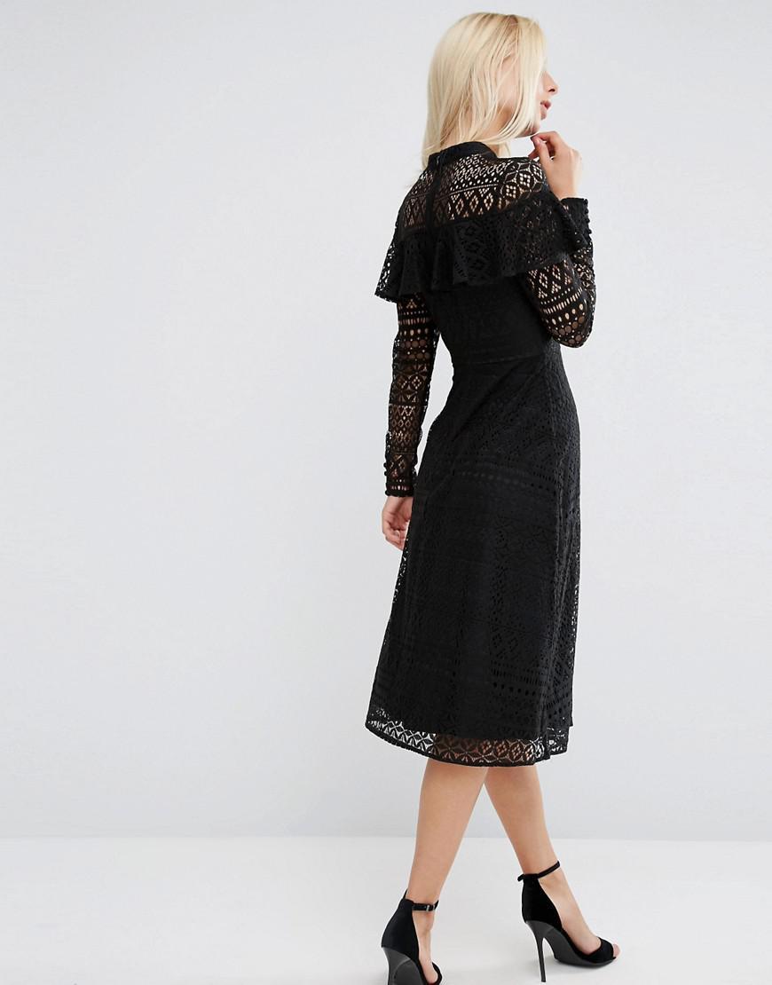 Asos High Neck Ruffle Lace Midi Dress In Black Lyst