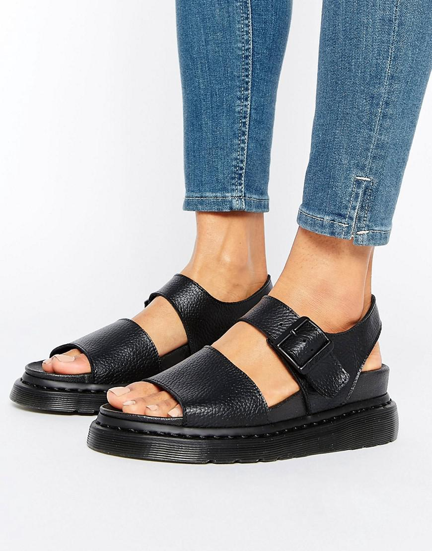 Dr Martens Romi Black Leather Strap Flat Sandals Lyst