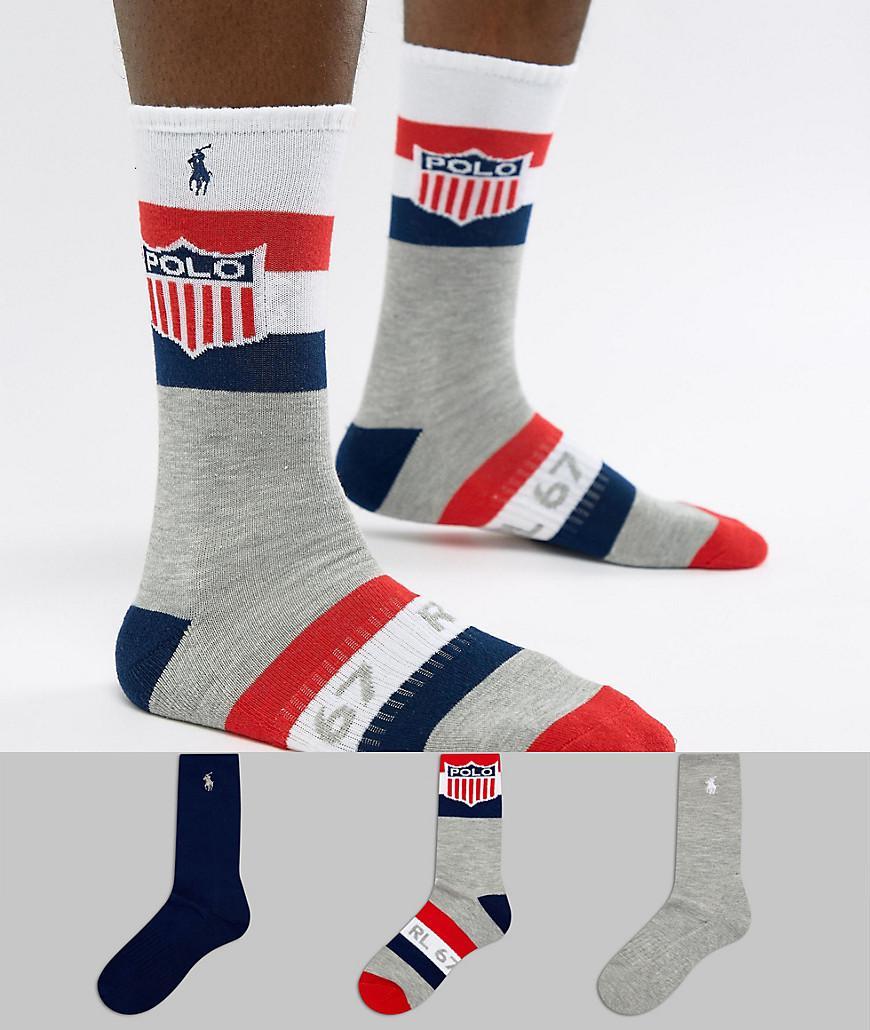 Polo Ralph Lauren Mens Trunks (3 Pack) Mens Socks Shop Mens Socks COLOUR-red/blue/navy