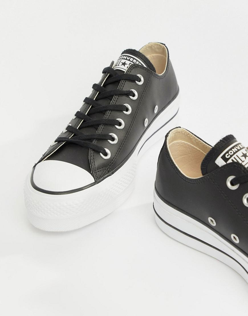 2c4a68c66a25 Lyst - Converse Chuck Taylor All Star Leather Platform Low Trainers ...