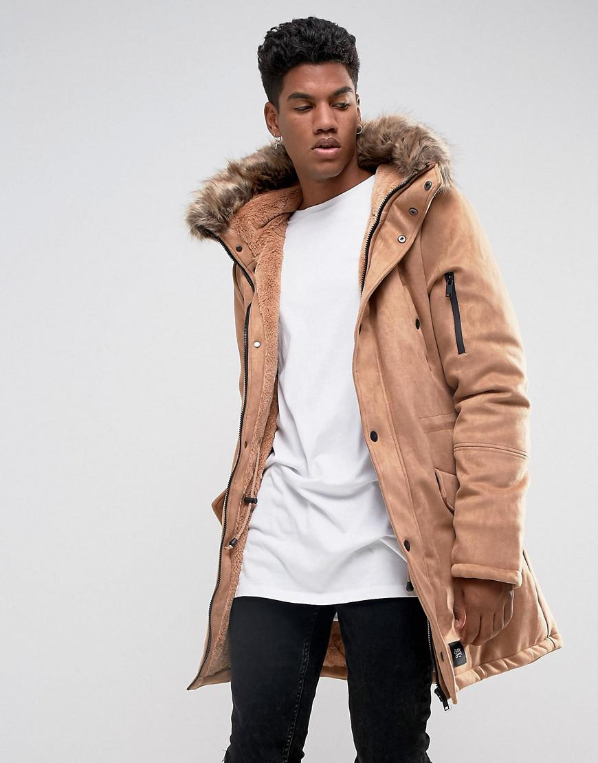 Sixth June Parka Jacket In Khaki With Faux Fur Hood | Mens