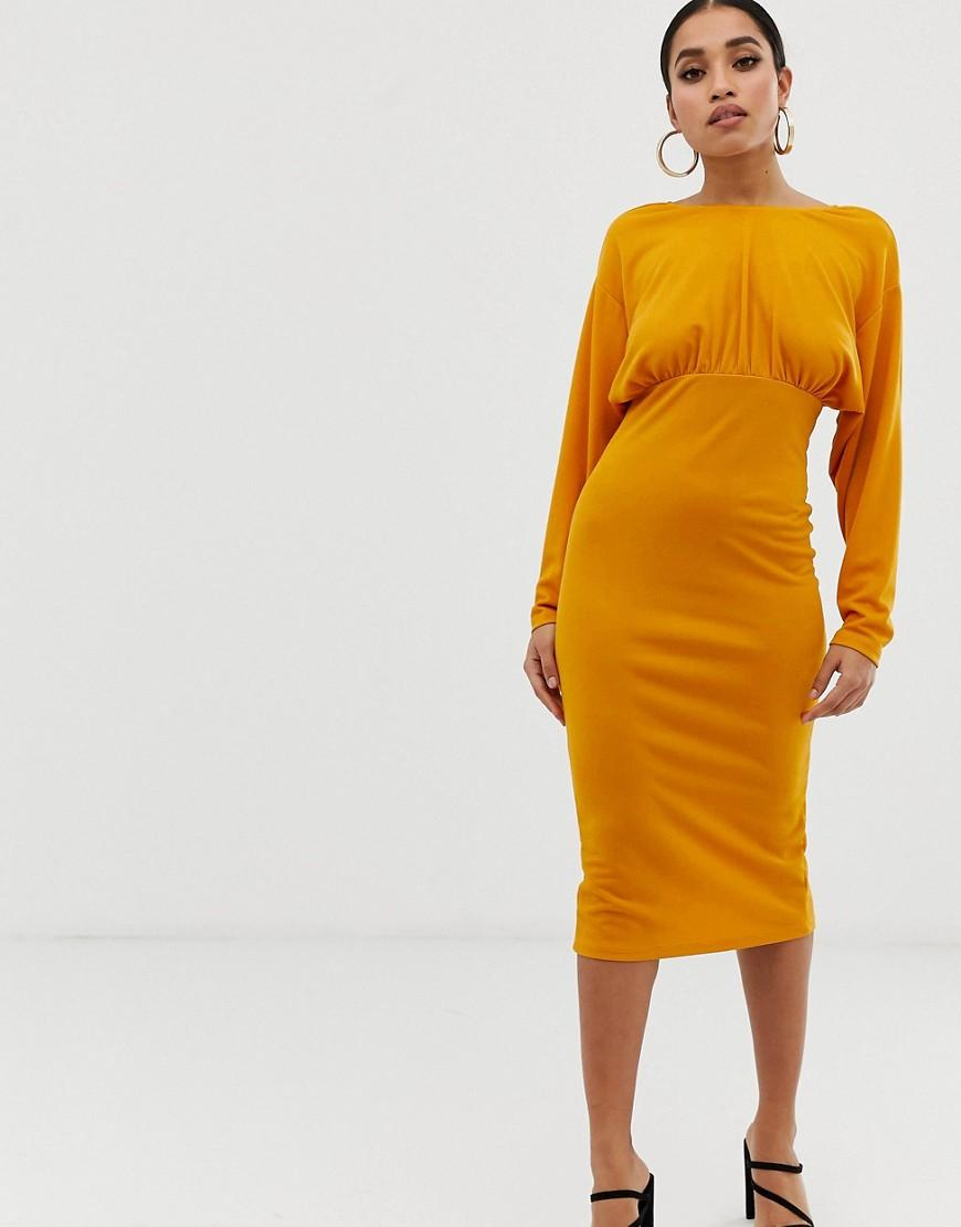 284d078f68 Lyst - Asos Asos Design Petite Deep V Tie Back Midi Dress in Yellow