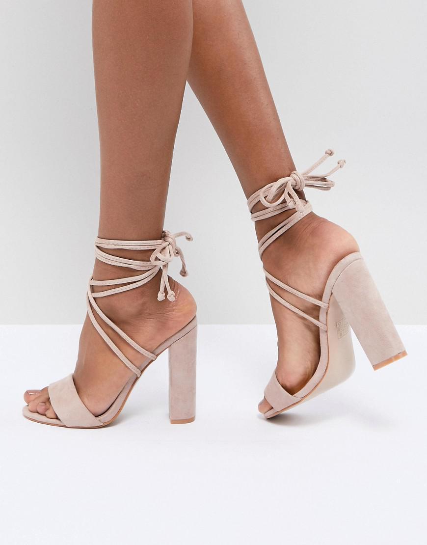 e8d8927e9b54 Public Desire Suzu Tie Up Block Heeled Sandals in Natural - Lyst