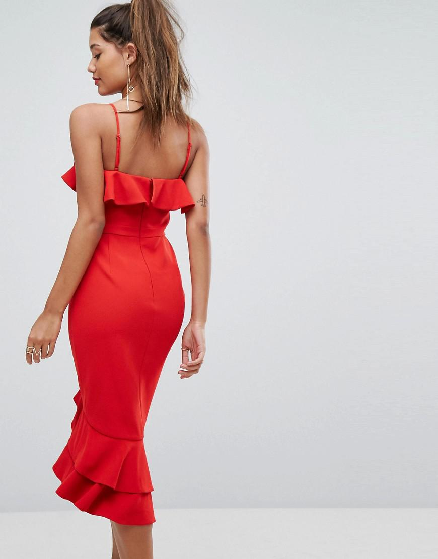 4c5bf3882970 Forever New Midi Dress With Frill Detail in Red - Lyst