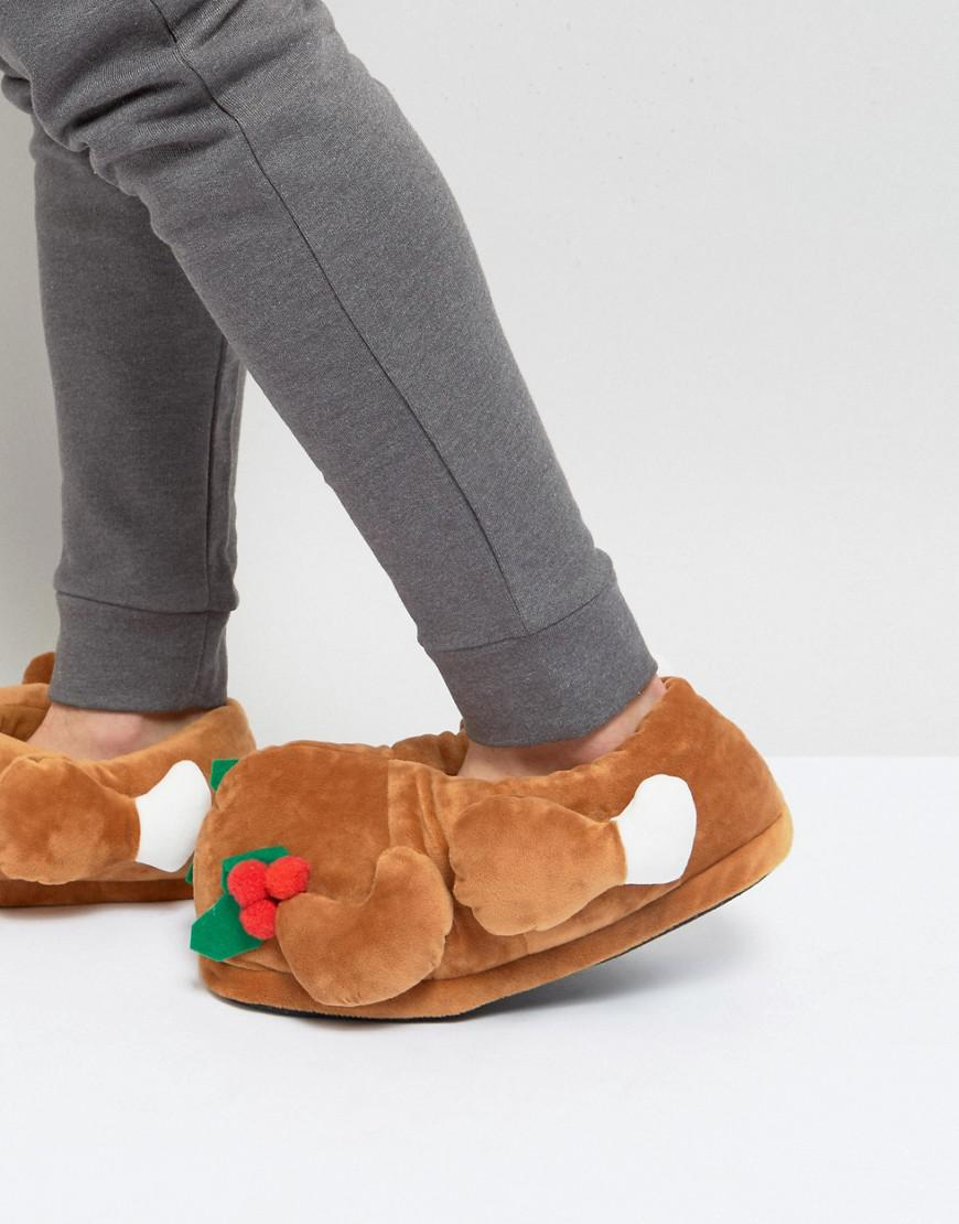 Christmas Pudding Slippers - Brown Dunlop PaLyUfh