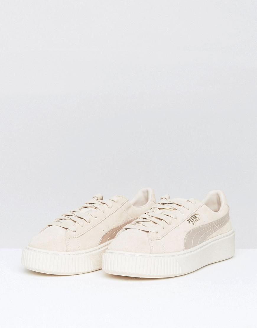 online store da589 031c9 PUMA Pink Suede Satin Platform Sneakers In Peach
