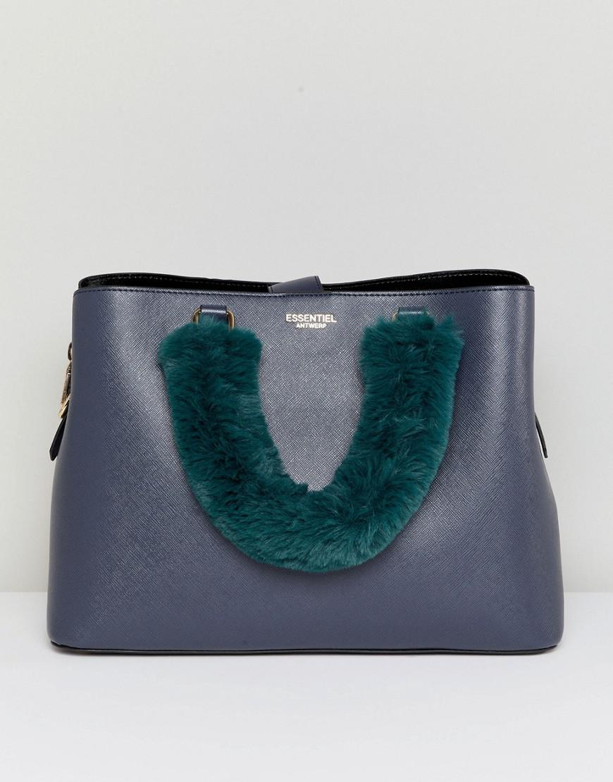 890e141993 Lyst - Essentiel Antwerp Faux Fur Handle Bag in Black