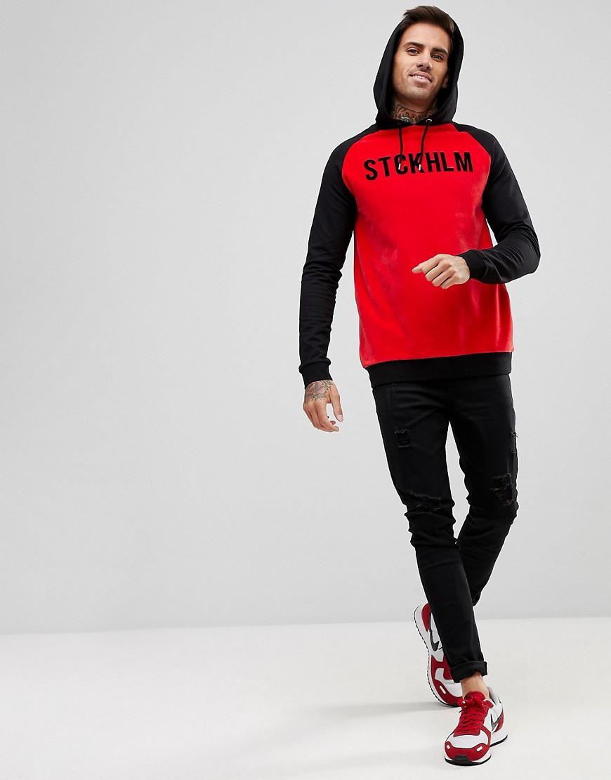 ASOS Denim Muscle Velour Hoodie With Contrast Sleeves & City Print in Black for Men