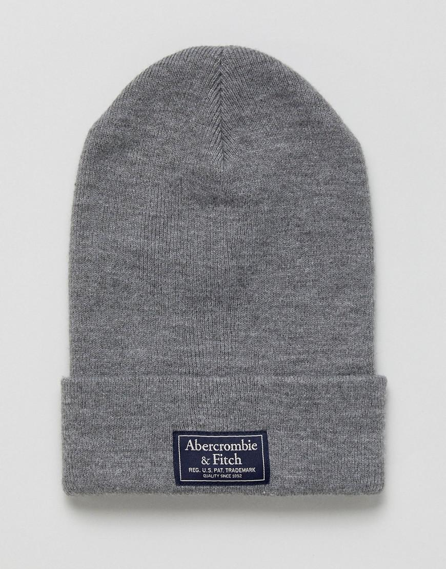 54d23653cfd3 Abercrombie & Fitch Logo Label Turn Up Rib Beanie In Light Grey Marl ...
