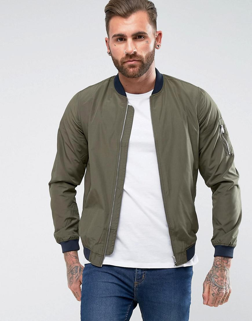 Pull&Bear Synthetic Bomber Jacket In Khaki in Green for ...