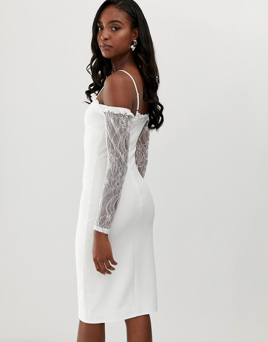2d7ddb932670 John Zack Square Neck Bodycon Dress With Lace Sleeve In White in White -  Lyst