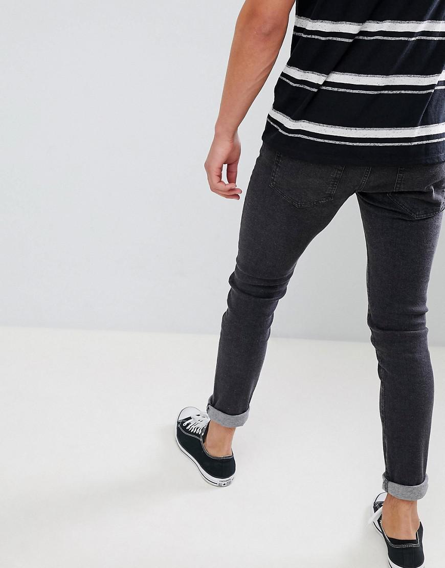 Bellfield Denim Skinny Jeans In Washed Black for Men