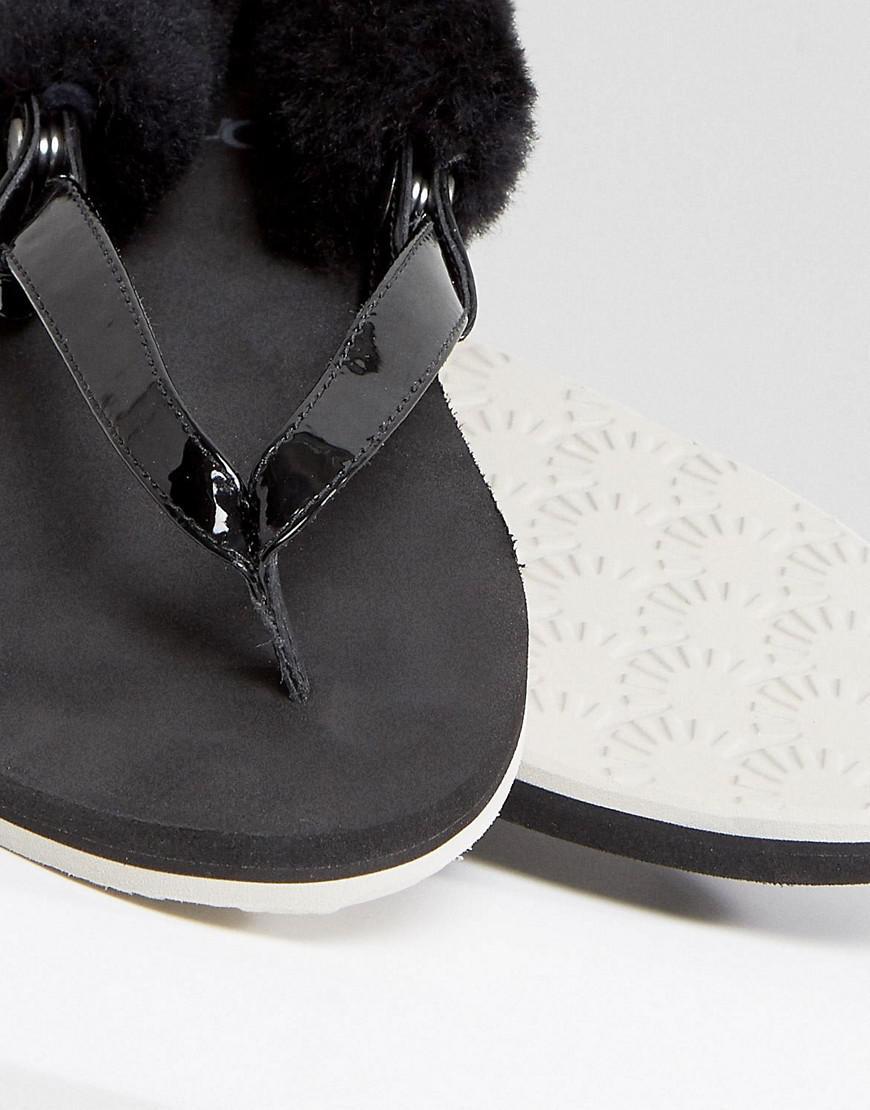 Ugg Laalaa Noir Moelleux Dos Fourrure Amovible Sandales Plates - Noir Z5c0W