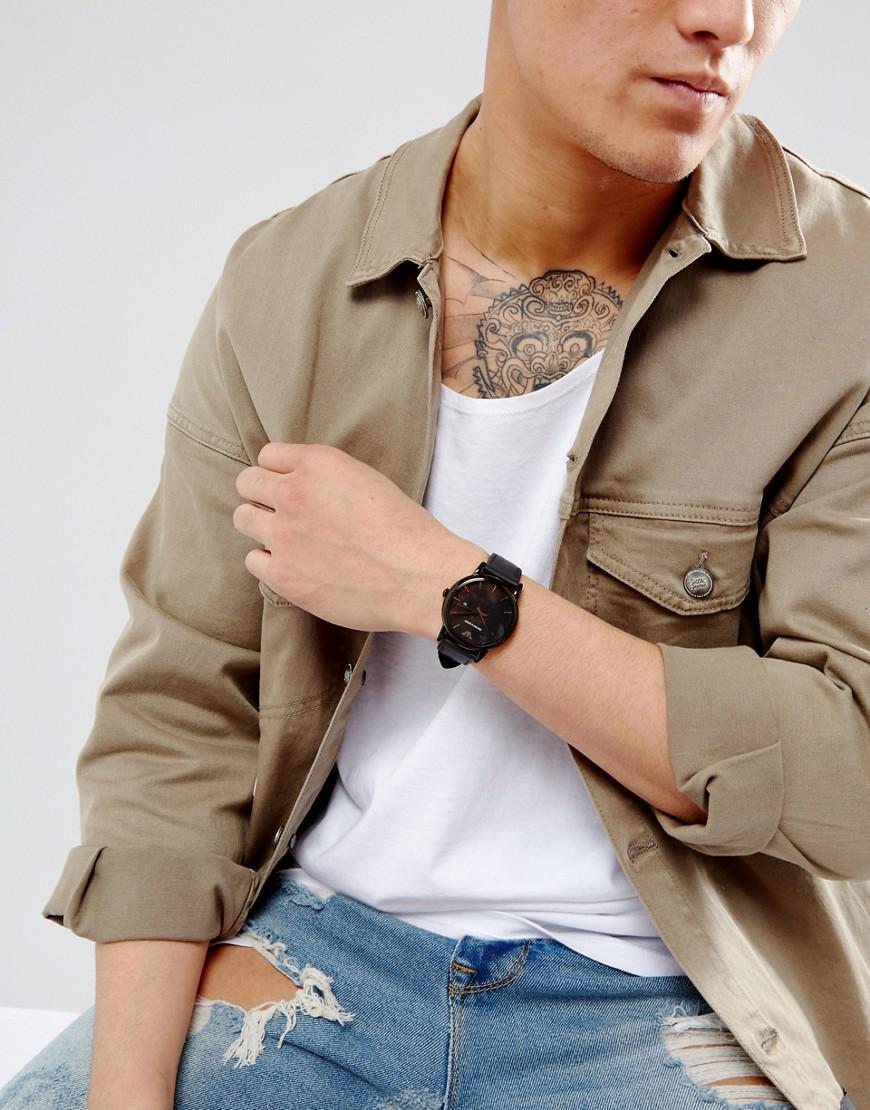 5da16de6 Emporio Armani Leather Watch In Black Ar1732 for men