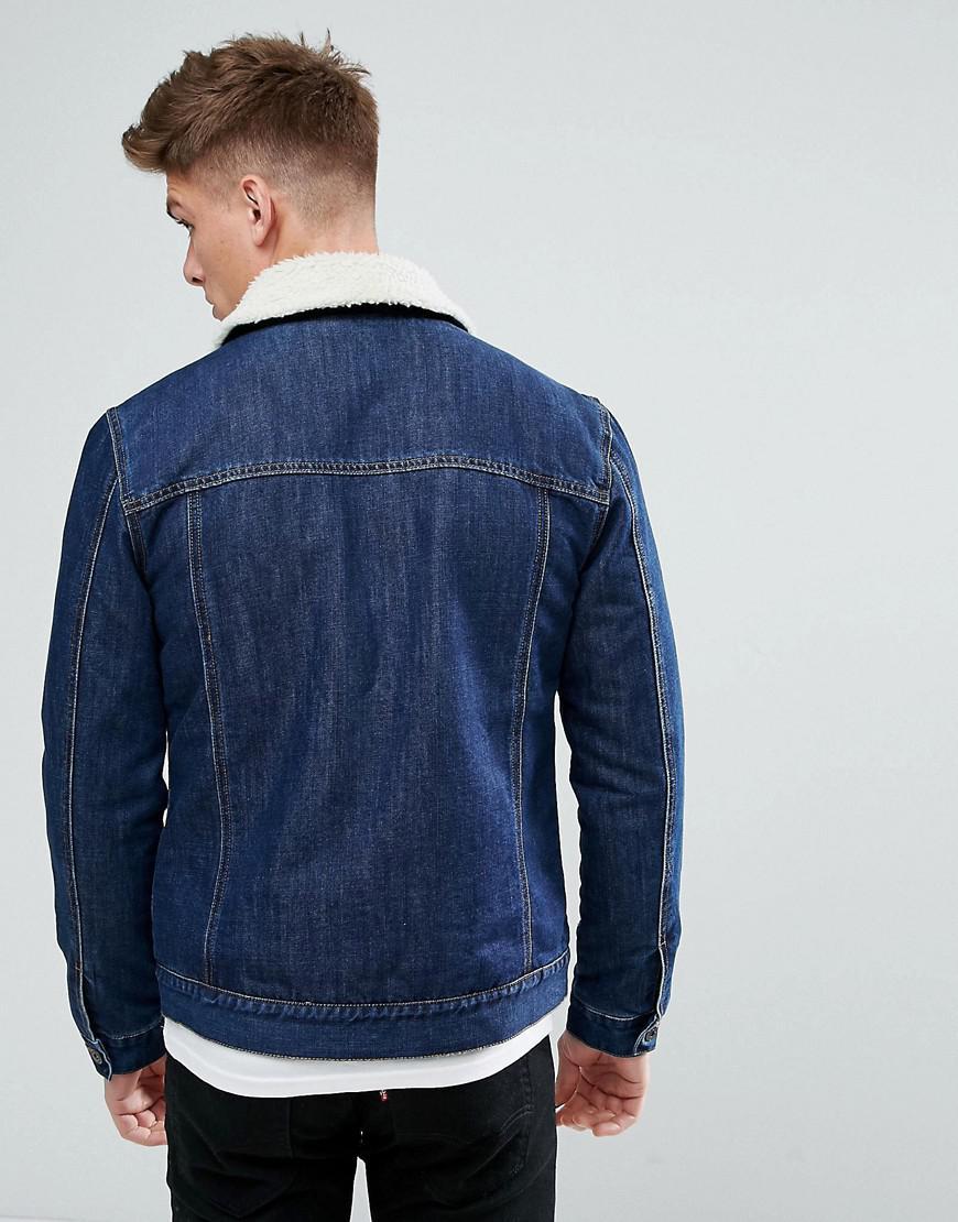 Solid Denim Jacket With Fleece Collar in Blue for Men