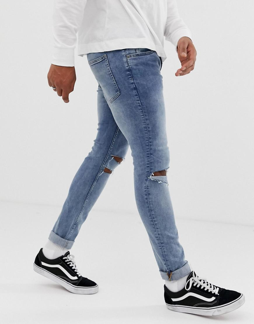 3245c96f786 Cheap Monday Skinny Tight Jeans In Sacred Blue With Knee Rips in Blue for  Men - Lyst