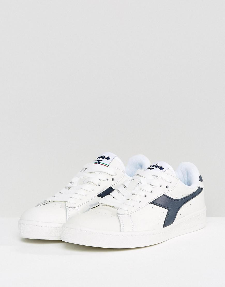 Diadora Leather Game Low Sneakers In White And Blue