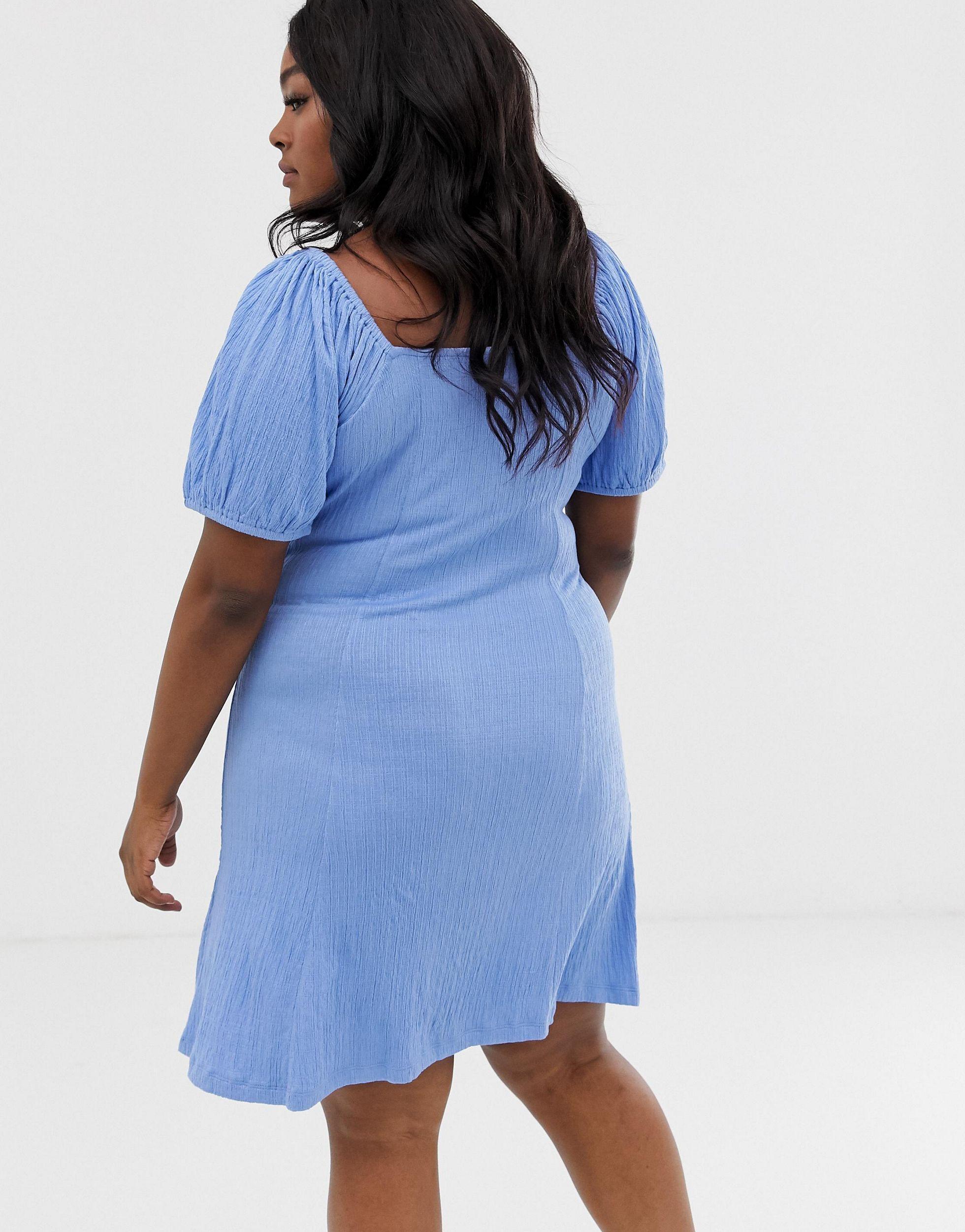 ASOS DESIGN Curve - Robe d'été boutonnée sur le devant avec nœud et manches bouffantes Coton ASOS en coloris Bleu
