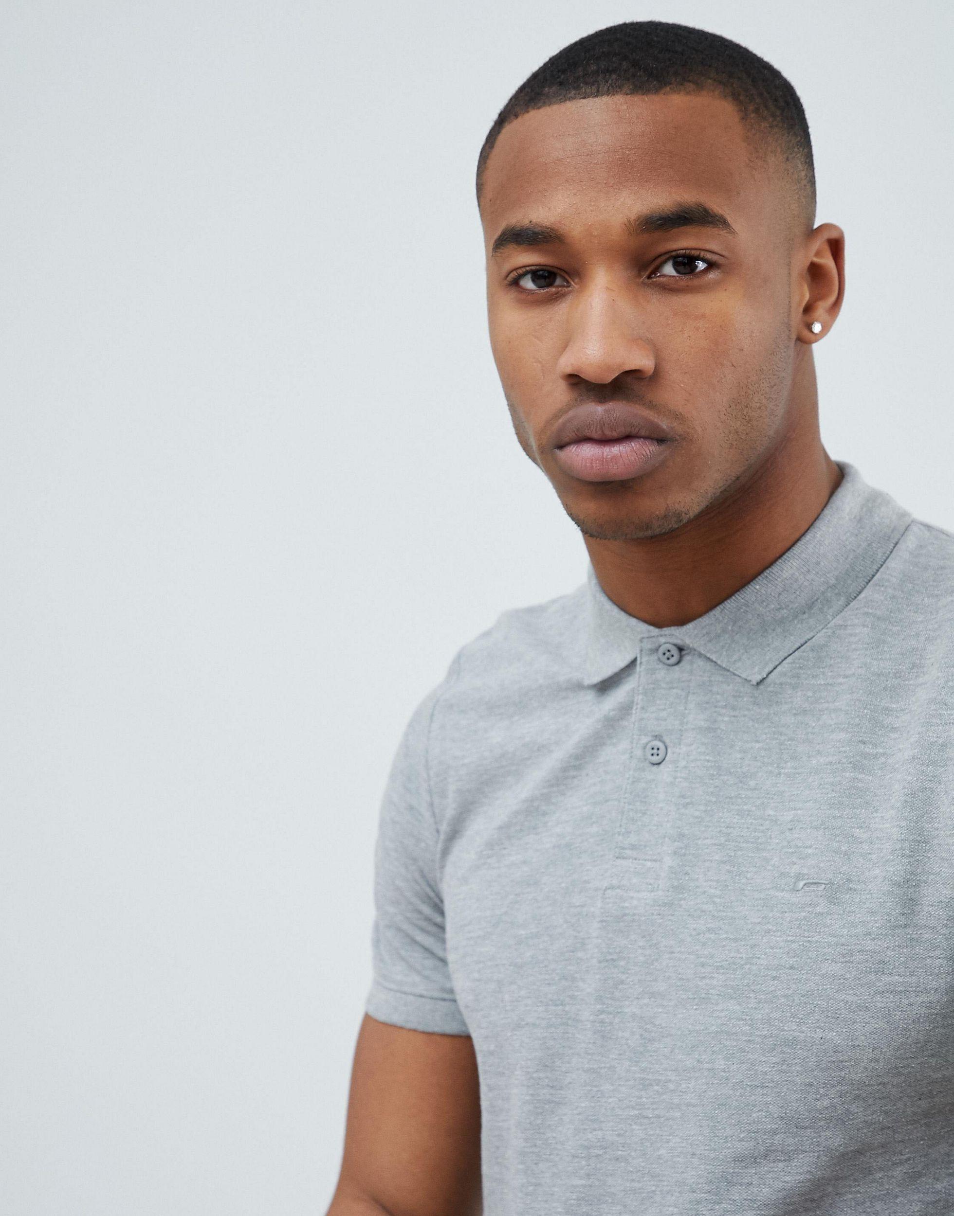 Jack & Jones Denim Essentials Slim Fit Pique Logo Polo in Grey (Grey) for Men