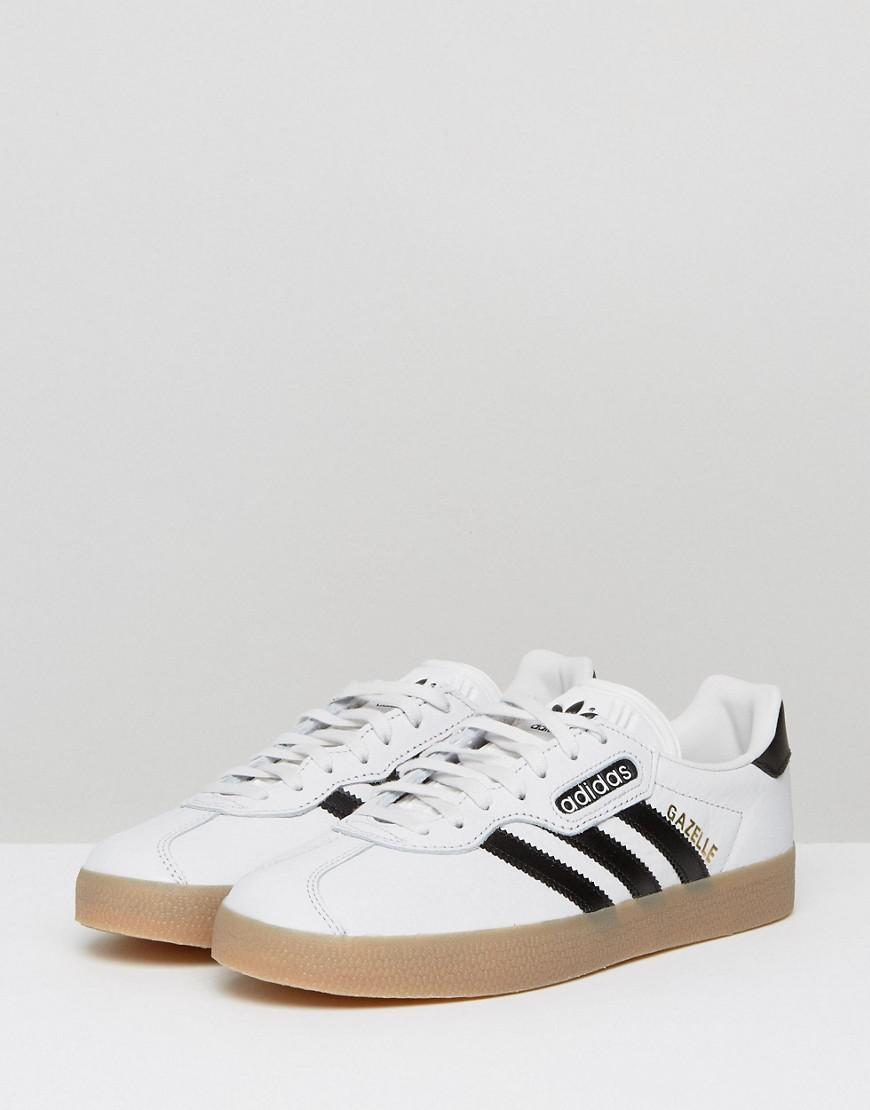 adidas Originals Leather Originals White Gazelle Super Sneakers