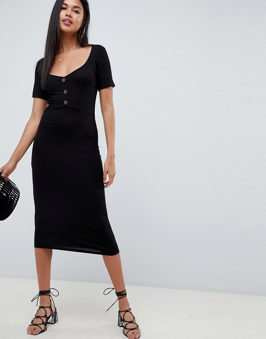 f34f5a2897e Lyst - ASOS Midi Tea Dress With Button Front in Black